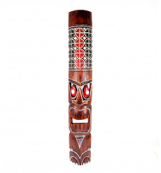 Great mask wood Tiki h100cm with motif painted. Decoration Tiki.