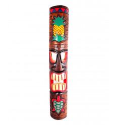 Arredamento parete Tiki Maori polinesiano motivi di Ananas etTortue H100cm legno