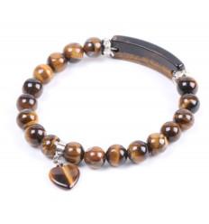Bracelet féminin cœur et strass. Oeil de Tigre naturel - Protection, confiance en soi.