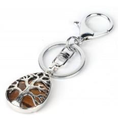 Porte-clefs / bijou de sac en Oeil de Tigre véritable - Arbre de vie