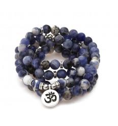 Mala 108 beads Sodalite natural - symbol Ôm