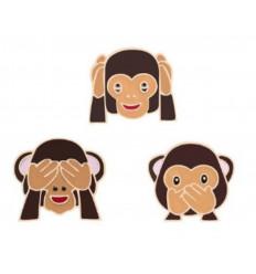 Pin's Les 3 singes de la sagesse. Broche dorée