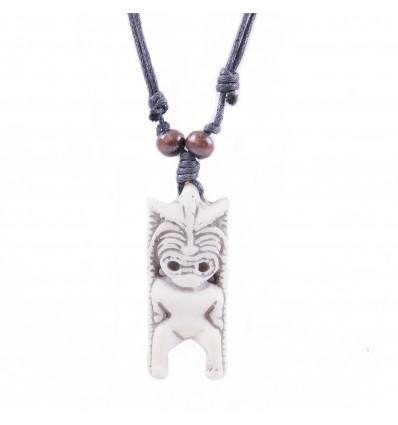 Collana mista uomo / donna con ciondolo Tiki - gioiello polinesiana