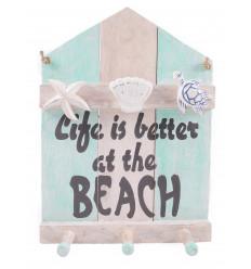 Patère 3 crochets, porte-manteau mural en bois. Déco enfant / Ado style cabane de plage.