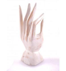 Mano di Buddha / Display anelli in legno intagliato a patina bianca