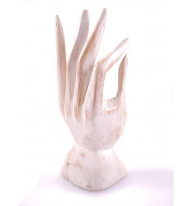 Main de Bouddha / Présentoir à bagues en bois sculpté patine blanche