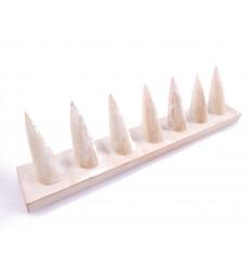 Porta-anelli in legno massello finitura bianco satinato / Display-ring (7 coni)