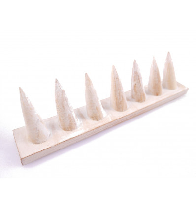 Door-rings in solid wood white finish brushed / Display-rings (7 cones)