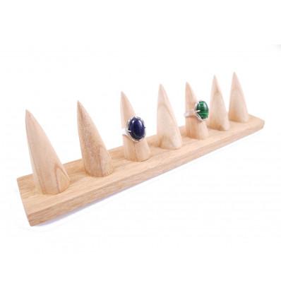 Porte-bagues en bois massif brut / Présentoir à bagues (7 cônes)