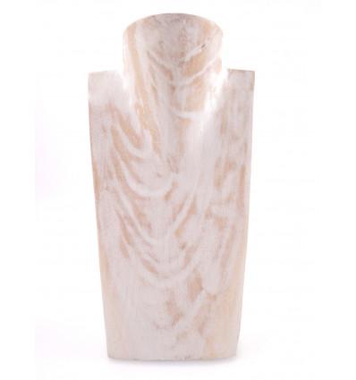 Buste Présentoir à colliers en bois massif blanc cérusé professionnel.