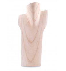 Buste présentoir à colliers en bois massif brut H30cm