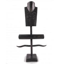 Mostra Gioielli di collane, anelli, bracciali e orologi. - in legno massello tinto Nero