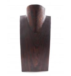Buste présentoir à colliers en bois massif chocolat H25cm