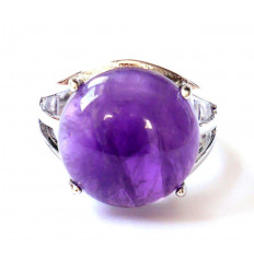 Ring Floralis adjustable genuine Amethyst