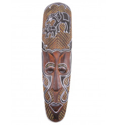 African mask wood pattern Elephants. Deco african.