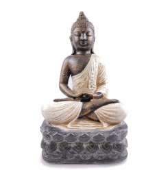 Statue stone Buddha, lotus position, white. Decoration craft.