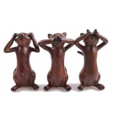 """Les 3 chats de la sagesse """"Le secret du bonheur"""" 3 Statuettes en résine. Couleur marron."""