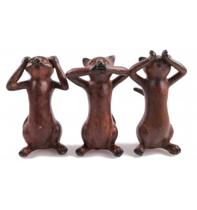 """The 3 cats of the wisdom """"The secret of happiness"""" 3 resin Statues. Color brown."""