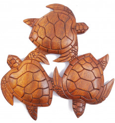 "Decor wall ""The round of the Turtles"" - solid wood carved hand"
