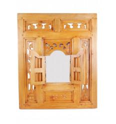 Miroir fenêtre oriental en bois style Moucharabieh 50x60cm finition naturelle