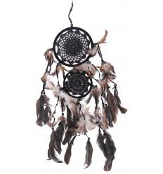 Double capteur de rêves 65x25cm - broderie crochet noir