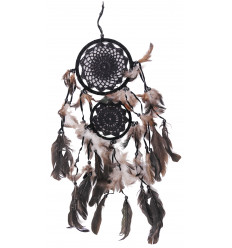Double dream catcher 65x25cm - ricamo uncinetto nera