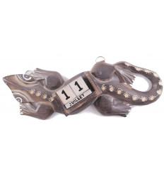 Calendrier perpétuel en bois en forme de gecko / lézard / salamandre