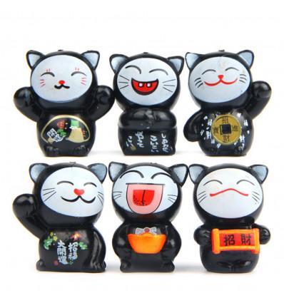Chats porte-bonheur - Lot de 6 Maneki Neko noirs - Santé et protection