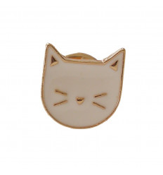 Pin's chat blanc. Broche dorée