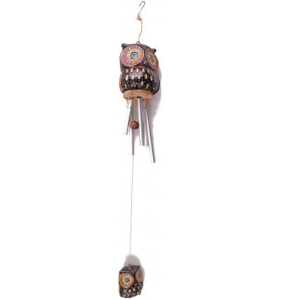 Carillon vento di bambù decorato con la Civetta di cocco