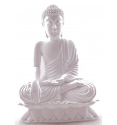 Statue of Buddha sitting in calling the earth bright white H24cm