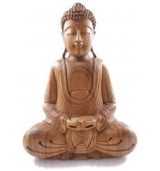 Scultura di Buddha in legno, asiatico, arredamento artigianale, statua.
