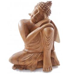 Statue de Bouddha assis h30cm - Bois massif brut sculpté main.