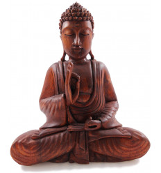 Buddha Statue sitting in a solid wood carved hand h20cm - Mûdra of Education and Argument