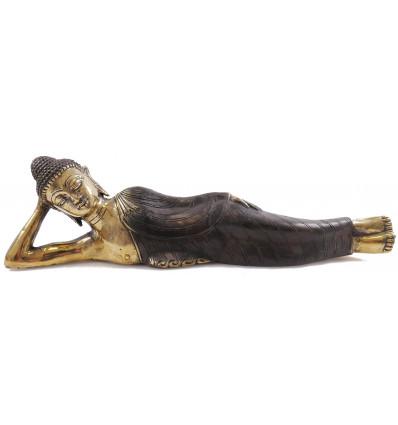 Statue Bouddha couché en bronze. Déco asiatique artisanale chambre.