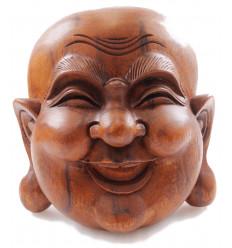 Masque Bouddha chinois rieur, bois massif sculpté main décoration asie
