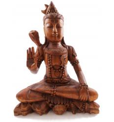 Statue de Shiva assis h30cm en bois massif sculpté teinte marron