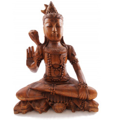 Statue of lord Shiva sitting h30cm solid wood carved shade brown