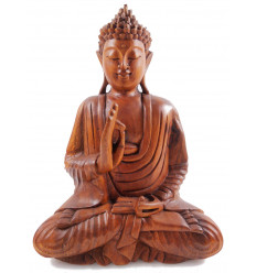 Sitting Buddha Statue in solid wood carved hand h30cm