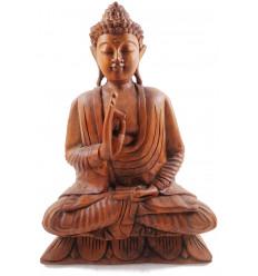 Statua di Buddha seduto nel loto h40cm in Legno intagliato a mano
