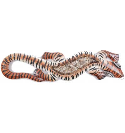 Gecko sable et coquillages, déco murale artisanale et exotique.