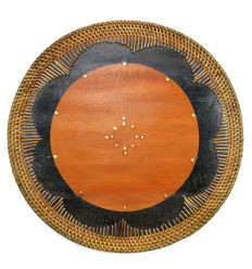 Table Set below wooden platter. Table decoration ethnic.