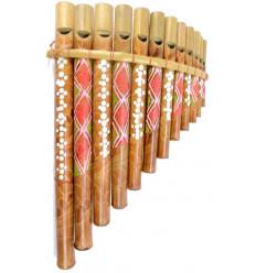 Flûte de pan en bambou 12 becs, fabrication artisanal peint à la main.