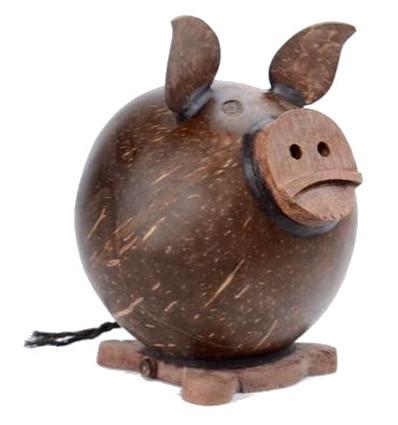 Tirelire Cochon en noix de coco et bois. Fait artisanalement à Bali.