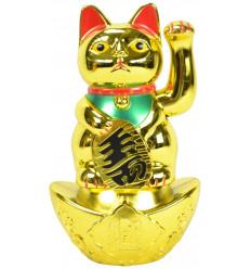 Maneki neko / Chat japonais doré porte-bonheur grand modèle H20cm