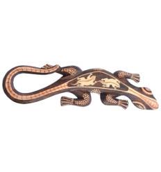 Gecko Lézard Salamandre décor mural L50cm en bois