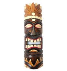 Tiki mask h30cm wood pattern feathers. Deco tribal polynesian.