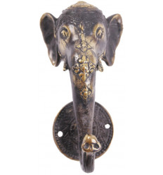 Gancio a parete Elefante 1 gancio in bronzo massiccio. Creazione di artigianato.