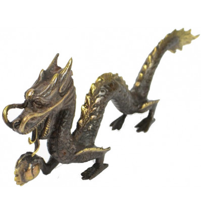 Statuette Dragon of Asia in solid bronze.