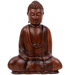 Buddha Statue sitting in a lotus position in solid wood carved hand h20cm